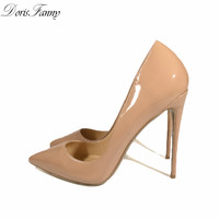 DorisFanny Bridal White shoes for wedding High Heels 2017 Pointed Toe Patent Leather Nude Black Pumps 12CM Women Stilettos