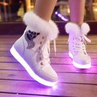 Winter Noctilucent Shoes Boots Multi-color USB Lightning LED Lights [6734552647]
