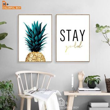 COLORFULBOY Minimalism Pineapple Letter Wall Art Canvas Painting Nordic Posters And Prints Wall Pictures For Living Room Decor