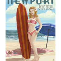 Newport Beach, California - Pinup Surfer Girl Poster by Lantern Press at AllPosters.com
