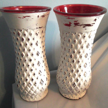 Red Vases, Distressed Red Vases, Tall Vases, Holiday Vases, Rustic Red Vases, Rustic Holiday Decor, Christmas Vases, Christmas Decor
