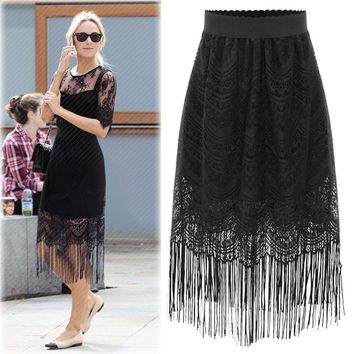 Plus Size Women's Fashion Summer Tassels Lace Bags [16056746010]