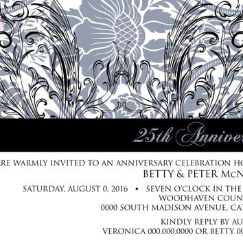 Black and Silver Anniversary, Black Tie Party, 25th Wedding Anniversary, Vow Renewal, Bryce Hudson Invitation - Digital File OR Printed