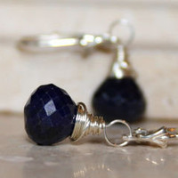 Blue Sapphire Drop Earrings, Sterling Silver