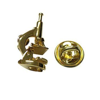 Gold Toned Scientific Microscope Lapel Pin [Jewelry]