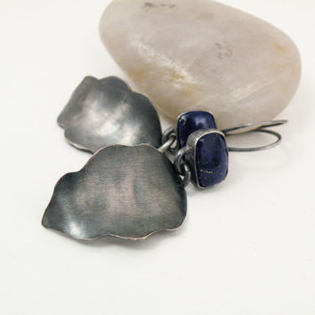 Sterling Silver Feather Earrings with Blue Lapis Lazuli Stone oxidized silver jewelry- Tail Feathers