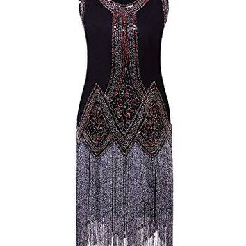 Vintage 1920s Full Fringed Tassel Beads Sequin Long Cocktail Flapper Dress