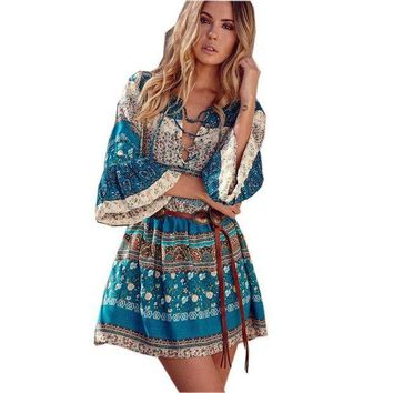 CREYCI7 2017 Sexy Jumpsuit Ladies Backless Wrist Playsuits Womens Summer Loose Blue Print Tassel Women Boho Plus Size Romper