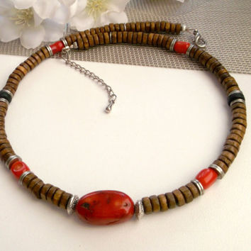 Men necklace, men choker, wood necklace, wood choker, coral necklace, coral choker, surfer choker, tribal choker, stone choker, friend gift