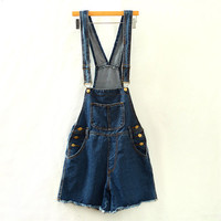 Blue High-Waist Buttoned Playsuit