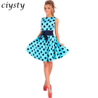 Ciysty Stylish Women Summer Sleeveless Bowknot Sashes High Waist O neck Polka Dot Cute A Line Casual Midi Party Dress