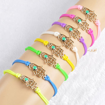 Fashion Gold plated Pu Plastic Fatima Hand Charm Bracelets & Bangles Light Candy color Women Girl hand Accessories jewelry