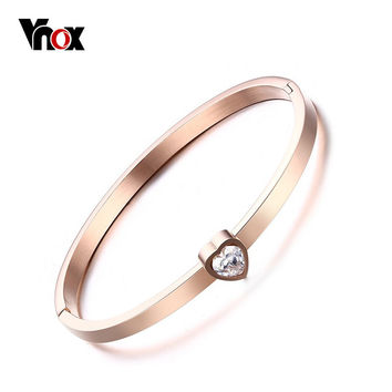 Vnox Simple Lady Crystal Heart Open Cuff Bracelet for Woman Rose Gold-color
