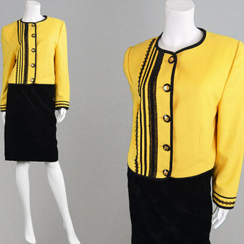 Vintage 80s LOUIS FERAUD Black & Yellow Embroidered Jacket Pure Wool Blazer French Designer Black Trim Cardigan Suit Yellow Blazer 1980s