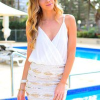 White Chiffon Sleeveless Bodysuit with Crossover V Front