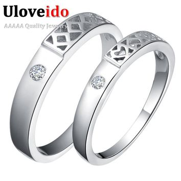 Uloveido Heart Love Couple Rings Vintage Engagement Ring Silver Color Wedding Rings for Women and Men Bagues Dropshipping J485