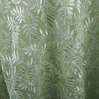 "Vintage Embroidered Venise Venice Lace 48"" Wide Pale Green Leaf Pattern"