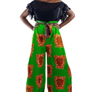 African-Print Tie-Front Wrap Pant - Green/Orange/Brown