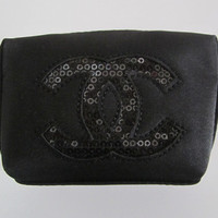 CHANEL Black Sequin CC Logo Small Lipstick Pouch / Makeup Bag / Cosmetic Pouch / Coins Bag VIP Limited Gift from sweeeties
