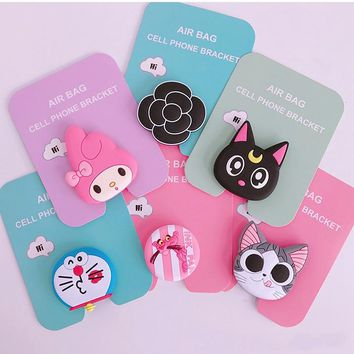 Airbag cell phone bracket Cute Stitch Ryan chick Phone Expanding Stand Finger Holder cartoon hello kitty ring melody cat