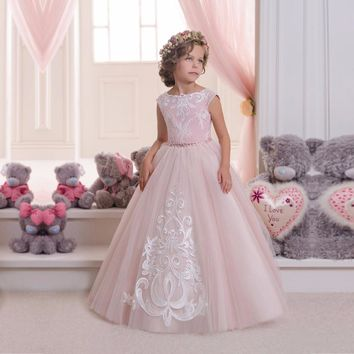 Custom Made Girls Pageant Flower Girl Dresses Satin Gown Light Pink Elegant Ball Gown Evening Party Dress for Girls