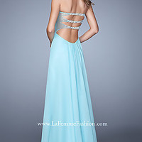 Floor Length Open Back Gown by La Femme