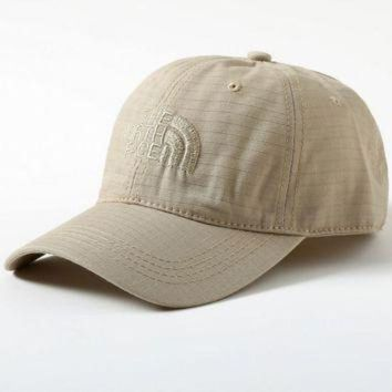 ONETOW Beige Color The North Face Embroidered Baseball Cap Hat