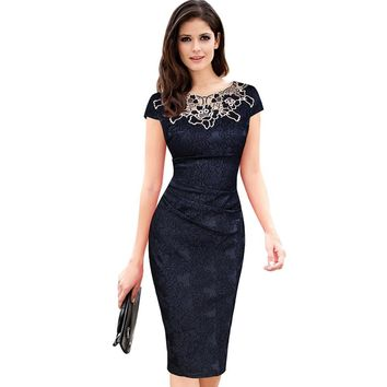 Women embroidery Elegant Vintage Dress Jacquard Dobby Fabric Hollow out Ruched Pencil Office Bodycon Evening Party Vestidos