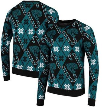 LMFON NFL Jacksonville Jaguars Team Apparel Candy Cane Repeat Mens Sweater