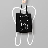 Black Tote Bag Dent - Canvas Tote Bag - Printed Tote Bag - Market Bag - Cotton Tote Bag - Large Canvas Totes - Black Funny Tote Bag Dentist