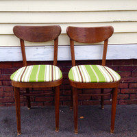 Upcycled Mid century cafe chairs dining chairs with green brown and beige fabric