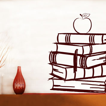 Wall Vinyl Decal Books Stack Reading School Libraries Living Room Decor Unique Gift z4712