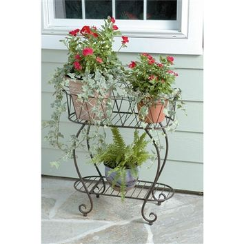 SheilaShrubs.com: Oval Wave Medium Metal Planter Stand PL204 by Deer Park Ironworks: Plant Stands