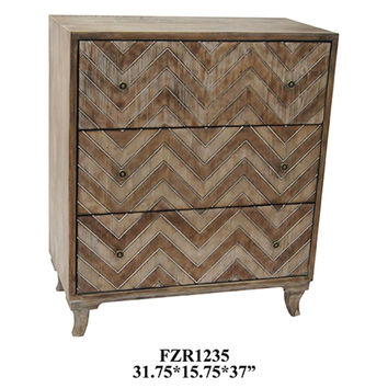 Crestview Auburn 3 Drawer Rustic Chevron Chest - CVFZR1235
