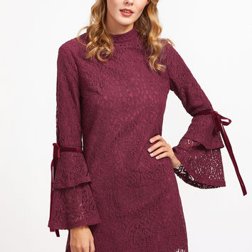 Burgundy Floral Lace With Layered Bell Sleeve Dress