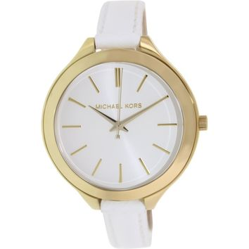 Michael Kors Women's Runway MK2273 White Leather Analog Quartz Fashion Watch