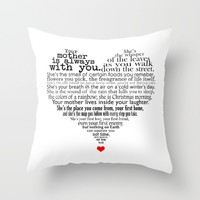 Mother's day poem Throw Pillow by Hedehede
