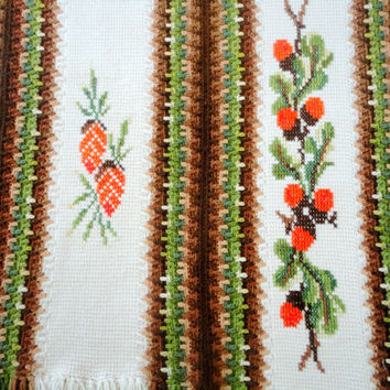 Vintage Knitted Blanket with Holly and Pine Cones In Green, Brown, Bright Red and White