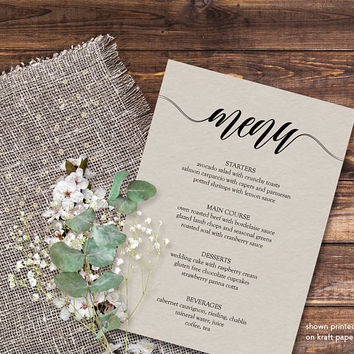 Dinner party menu template, Printable menu template, 5x7 menu cards for wedding,  Menu card template, Editable menu template, PDF Download
