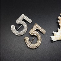 Gold&Silver New Brand Brooches Letter 5 Full Crystal Rhinestone cc Brooch Pins For Women Party Flower Number Brooches Jewelry