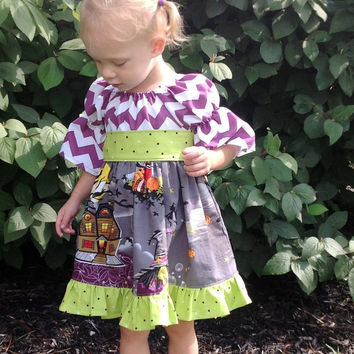 Girls Halloween Dress Toddler Halloween Dress Chevron Dress Baby Halloween Dress Halloween Outfit