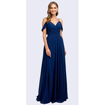 Floor Length Navy Blue Cold-Shoulder Semi Formal A-line Dress