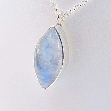 rainbow moonstone necklace - sterling silver necklace - made to order