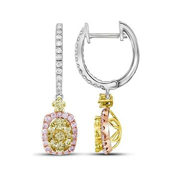 14kt White Gold Womens Round Canary Yellow Pink Diamond Dangle Earrings 7-8 Cttw