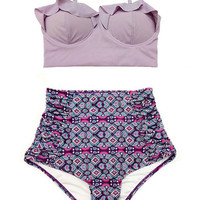 Lavender Midkini Top and Graphic High Waisted Waist Rise Shorts Bottom Swimsuit Bikini Swimdress Swimwear Swim suit suits Beachwear size S M