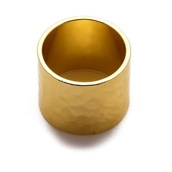 Gold Hammered Cigar Band Ring