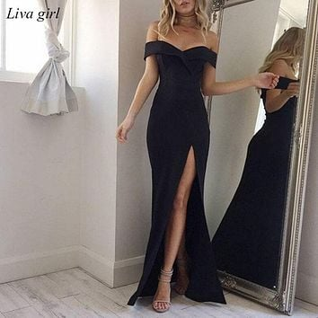 2018 Summer Dress Elegant Bohemian Women Evening Sexy Maxi Formal Party Dresses Strapless Solid Spring Girl Dresses Vestidos