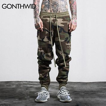 Fashion Men Pants Hip Hop Side Zipper Pockets Casual Joggers Military Camouflage Cargo Trousers Sweatpants
