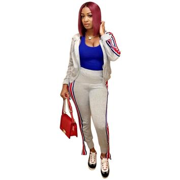 Women's  Crop Top and Sweat Pant Set Casual Outfit Sportswear 2 Piece