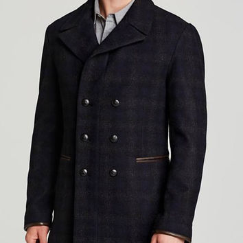 John Varvatos Star USA Double-Breasted Plaid Peacoat